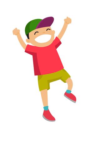 Opgewekte emotionele kleine actieve Kaukasische jongen die en handen omhoog opspringen opheffen.