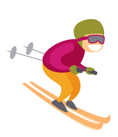 Young active caucasian skiing downhill in high mountains. Illustration