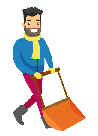 Young smiling Caucasian white man shoveling snow with a big spade after blizzard in the winter. Illustration