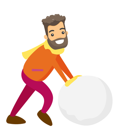 Young caucasian white man rolling giant snowball to make snowman. Çizim
