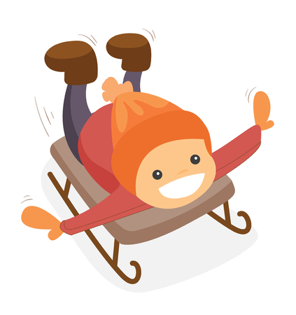 Happy laughing caucasian white boy riding down on sleigh in the winter park. Concept of outdoor winter leisure activity. Vector cartoon illustration isolated on white background.