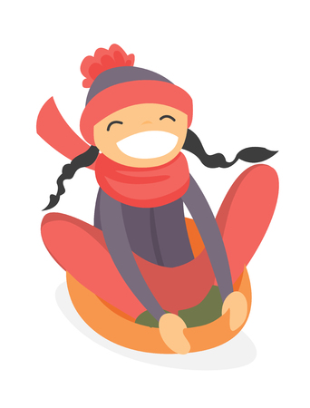 Happy laughing caucasian white girl sledding down on snow rubber tube in the winter park. Concept of outdoor winter leisure activity. Vector cartoon illustration isolated on white background.