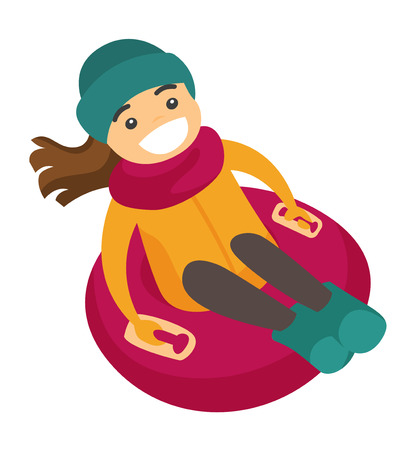 Young active cheerful caucasian white woman enjoying a ride on snow rubber tube in the winter park. Concept of outdoor winter leisure activity. Vector cartoon illustration isolated on white background