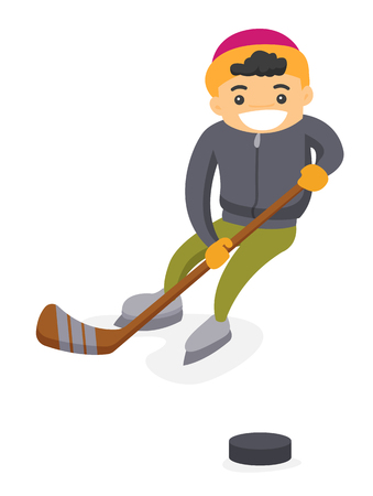 Teenage caucasian white boy having fun while playing ice hockey on an outdoor ice skating rink in winter. Concept of winter leisure activity. Vector cartoon illustration isolated on white background. Illustration