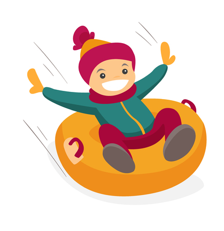 Young active cheerful caucasian white boy enjoying a ride on snow rubber tube in the winter park. Concept of outdoor winter leisure activity. Vector cartoon illustration isolated on white background. Vettoriali