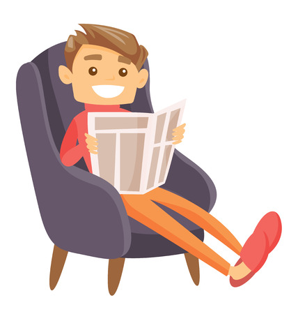 Young Caucasian white cheerful man sitting in a comfortable armchair and reading a newspaper. Vector cartoon illustration isolated on white background. Illustration