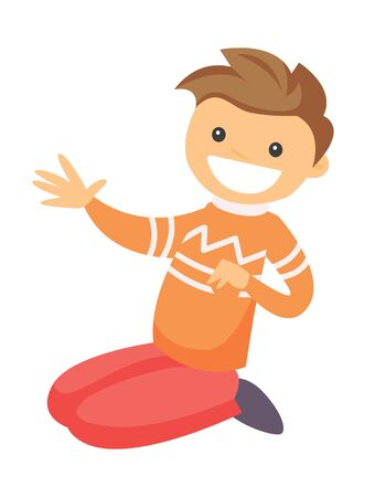 Young Caucasian white happy laughing boy sitting on the floor. Vector cartoon illustration isolated on white background.
