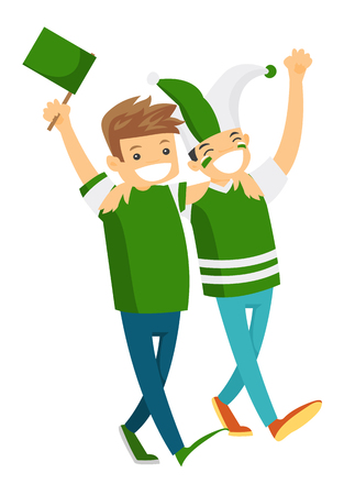 Group of Caucasian white happy sport fans in green outfit cheering for their team. Football fans with flag strolling. Vector cartoon illustration isolated on white background.