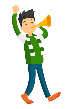 Young Caucasian white happy sport fan in green outfit cheering for his team with horn. Football fan celebrating the victory of his team. Vector cartoon illustration isolated on white background.