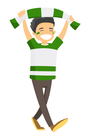 Young happy Caucasian white sport fan in green outfit cheering for his team with scarf. Football fan celebrating the victory of his team. Vector cartoon illustration isolated on white background.