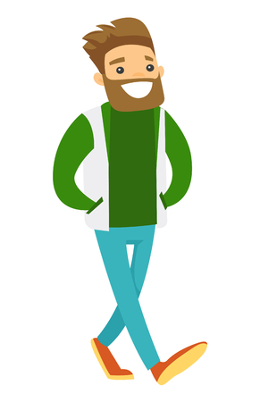 Young hipster Caucasian white happy sport fan in green outfit strolling. Vector cartoon illustration isolated on white background.