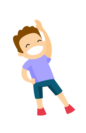 Little happy Caucasian white boy doing stretching warm up exercise. Vector cartoon illustration isolated on white background.