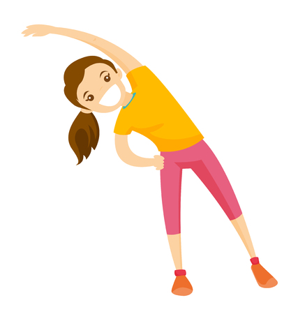 Young happy Caucasian white woman doing stretching warm up exercise. Vector cartoon illustration isolated on white background. Illustration