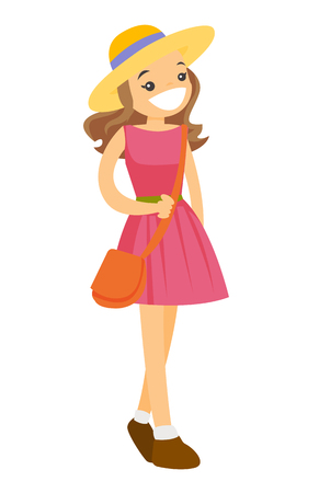 Young Caucasian white smiling woman in pink dress and panama hat. Vector cartoon illustration isolated on white background. Illusztráció