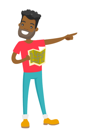 Young african-american man with paper map in hands sightseeing and pointing finger to the side. Vector cartoon illustration isolated on white background.