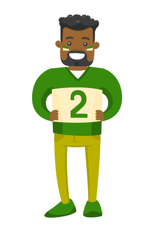 Young african-american happy sport fan in green outfit supporting his team. Cheerful sport fan watching game and clenching fists. Vector cartoon illustration isolated on white background.