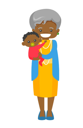 Happy senior african-american grandmother holding cute little baby grandson with pacifier. Vector cartoon illustration isolated on white background.