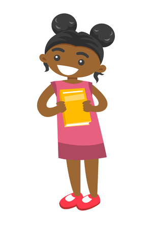 Full length of happy little african-american smiling girl standing with book in hands. The concept of childhood and education. Vector cartoon illustration isolated on white background.