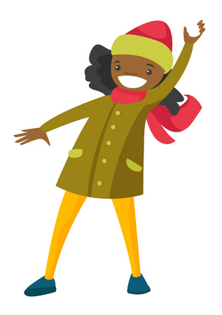 Young happy african-american woman playing snowball fight and having fun in snow in winter. Concept of outdoor winter leisure activity. Vector cartoon illustration isolated on white background.