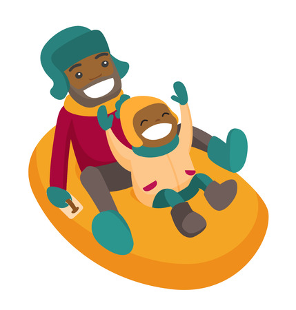 Laughing african-american father with son sledding down on snow rubber tube in the winter park. Concept of outdoor winter leisure activity. Vector cartoon illustration isolated on white background.