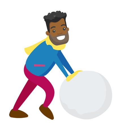 Young african-american man rolling giant snowball to make snowman. Concept of outdoor winter leisure activity. Vector cartoon illustration isolated on white background.