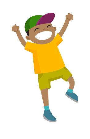 Opgewonden emotionele kleine actieve Afro-Amerikaanse jongen die terwijl het opheffen van handen omhoog springt.