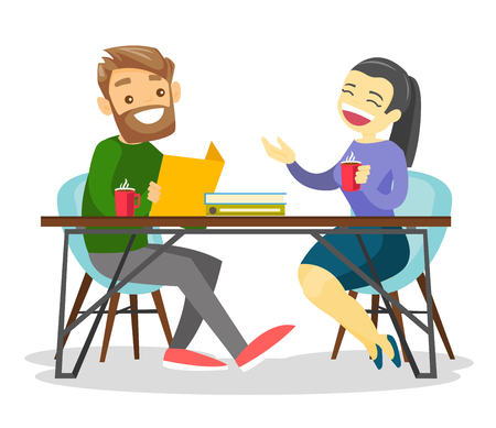 Young happy caucasian white office workers chatting and drinking coffee in office. Businesswoman and businessman having a coffee break at work. Vector cartoon illustration isolated on white background Çizim