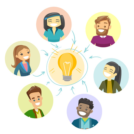 Group of young multicultural businessmen connected by one idea light bulb. Business partners working on new business idea and start up. Vector cartoon illustration isolated on white background. 矢量图像