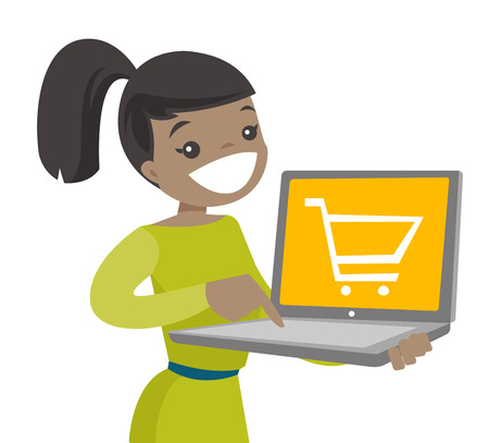 Young Caucasian white woman using a laptop computer for shopping online. Happy woman holding a laptop computer with a shopping cart on screen. Vector cartoon illustration isolated on white background.