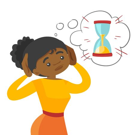 Afraid young African-american business woman looking at hourglass and worrying about deadline terms. Time management and deadline concept. Vector cartoon illustration isolated on white background. Illustration