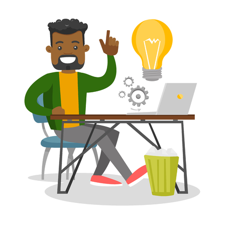 Young African businessman sitting at workplace with bright light bulb and pointing finger up because he came up with successful business idea. Vector cartoon illustration isolated on white background.