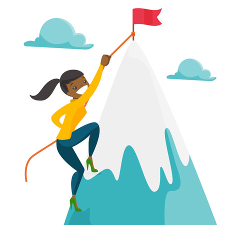 Risky african woman climbing on the peak of mountain with a flag symbolizing business goal. Business goal, achievement and motivation concept. Vector cartoon illustration isolated on white background. Illustration