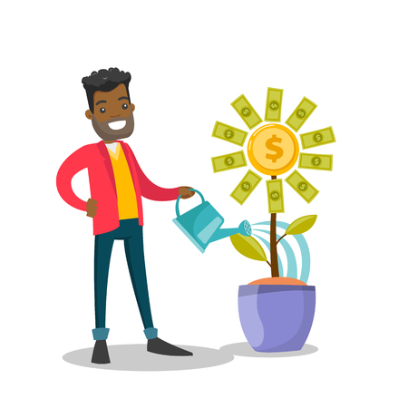 Young african investor watering money flower with dollars. Businessman investing in business project. Business growth and investment concept. Vector cartoon illustration isolated on white background. Ilustrace