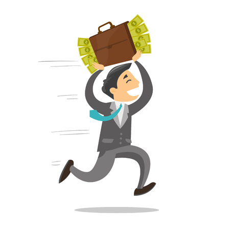 Young corrupt caucasian white businessman running with briefcase full of money. Concept of corruption, bribery and economic crime. Vector cartoon illustration isolated on white background. Vettoriali
