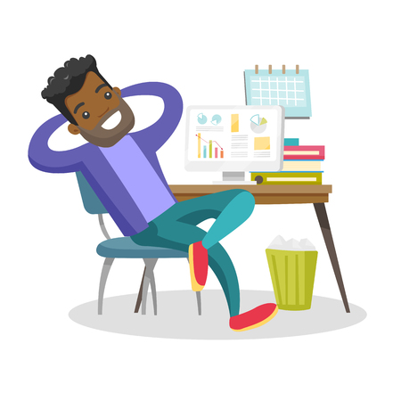 Young satisfied african-american employee sitting at workplace with hands clasped behind his head. Relaxed employee resting in the office. Vector cartoon illustration isolated on white background.