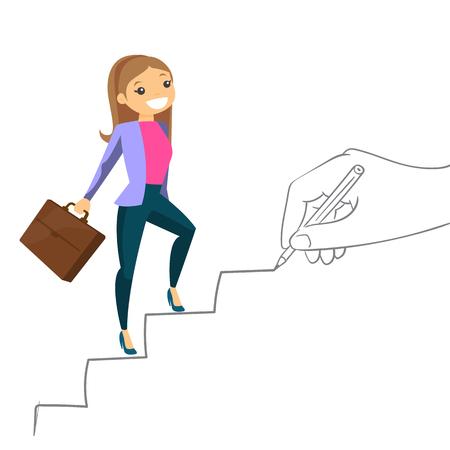 Jeune femme d'affaires de blanc caucasien qui monte les escaliers dessinés à la main avec pencile. Femme d'affaires heureuse grimper les échelons de carrière. Illustration de dessin animé de vecteur isolé sur fond blanc. Banque d'images - 92913049