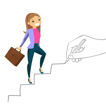 Young caucasian white business woman running up the stairs drawn by hand with pencile. Happy business woman climbing the career ladder. Vector cartoon illustration isolated on white background.