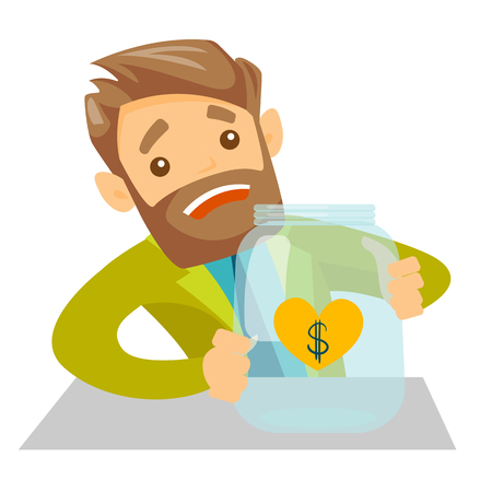 Worried caucasian white man looking at empty glass jar. Desperate bankrupt man sitting at the table with empty money box. Bankruptcy concept. Vector cartoon illustration isolated on white background.