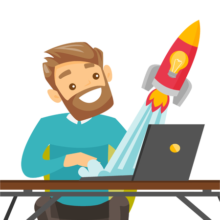 Caucasian white businessman working on a laptop and looking at the rocket. Man working on a new business start up. Business start up concept. Vector cartoon illustration isolated on white background.