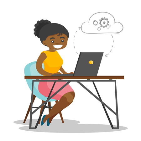 Young african-american business woman working on a laptop under the cloud. Woman using cloud computing technologies. Cloud computing concept. Vector cartoon illustration isolated on white background.
