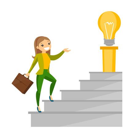 Young cheerful caucasian white business woman walking upstairs to to get idea lightbulb. Concept of creative business idea. Vector cartoon illustration isolated on white background.