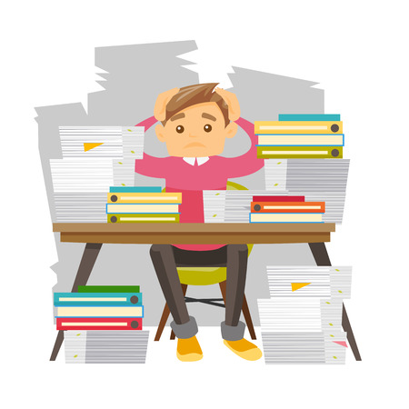 Young caucasian white office worker in despair sitting at the workplace with heaps of papers. Concept of stress at work and paperwork. Vector cartoon illustration isolated on white background.