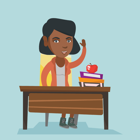 African-american student sitting at the desk with raised hand. Student raising hand in the classroom for an answer. Clever pupil raising her hand at lesson. Vector cartoon illustration. Square layout.