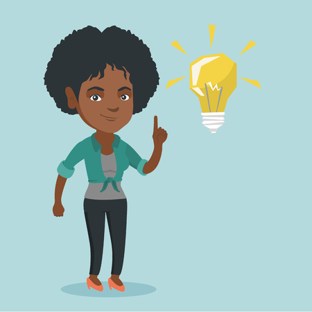 African-american student pointing finger up at the glowing idea lightbulb. Young excited student with bright idea lightbulb. Student having a great idea. Vector cartoon illustration. Square layout.