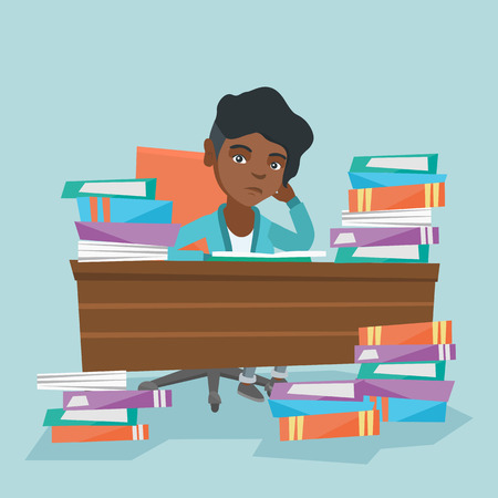 African-american annoyed student studying hard before the exam with a lot of books. Angry student sitting at the table with propped head and many books. Vector cartoon illustration. Square layout. Illustration