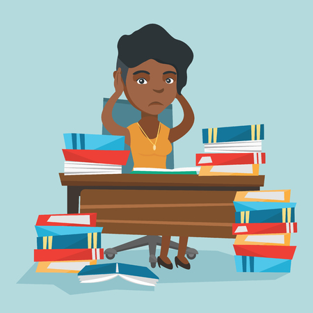 Young stressed african student sitting at the table with a lot of books. Worried student studying before the exam with lots of books and clutching head. Vector cartoon illustration. Square layout.