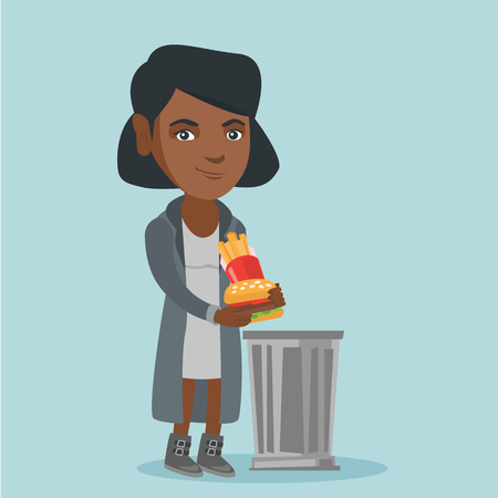 Young african-american woman putting junk food into a trash can. Smiling woman throwing out unhealthy junk food. Concept of healthy lifestyle and nutrition. Vector cartoon illustration. Square layout. 向量圖像