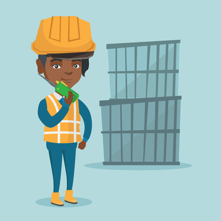 African-american port worker in hard hat talking on wireless radio. Port worker standing on the background of cargo containers and using wireless radio. Vector cartoon illustration. Square layout. Illustration