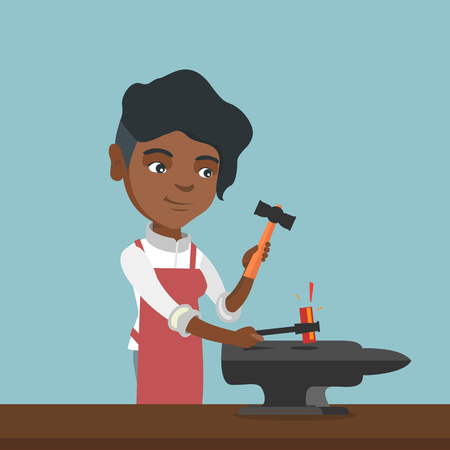 African-american blacksmith working metal with a hammer on the anvil in the forge. Young female blacksmith forging molten metal on the anvil in the smithy. Vector cartoon illustration. Square layout. Illustration