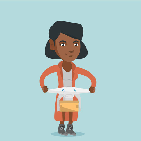 Young african woman controlling delivery drone with post package. Woman getting post package from delivery drone. Woman sending parcel with delivery drone. Illustration